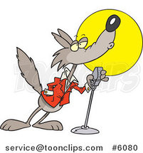 Cartoon Howling Wolf in the Spotlight by Ron Leishman