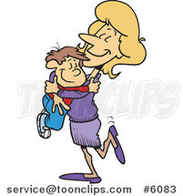 Cartoon Mom Hugging Her Son by Ron Leishman