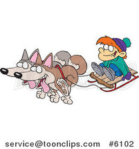 Cartoon Huskies Pulling a Boy on a Sled by Ron Leishman