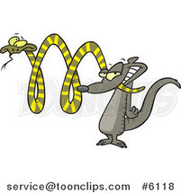 Cartoon Mongoose Attacking a Snake by Ron Leishman
