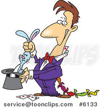 Cartoon Magician with a Rabbit in a Hat by Ron Leishman