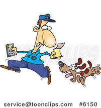 Cartoon Dog Chasing the Meter Guy by Ron Leishman