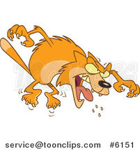 Cartoon Mad Orange Cat Attacking by Ron Leishman