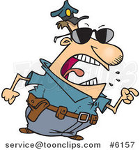 Cartoon Mad Police Guy Pointing His Finger by Toonaday
