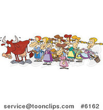 Cartoon Cow with Eight Milking Maids by Ron Leishman