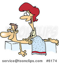 Cartoon Friendly Female Massage Therapist Massaging a Patient by Toonaday