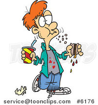 Cartoon Bad Mannered Boy Eating a Sloppy Sandwich by Ron Leishman