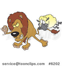 Cartoon Sheep Attacking a Lion by Ron Leishman