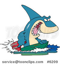 Cartoon Shark Steering a Boat by Ron Leishman