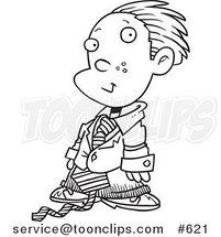 Line Art of a Cartoon Business Executive Boy Using a Magnifying Glass by Toonaday