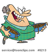 Cartoon Happy Lady Serving Spaghetti and Meatballs by Ron Leishman