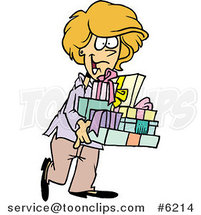 Cartoon Happy Lady Carrying Gifts by Ron Leishman