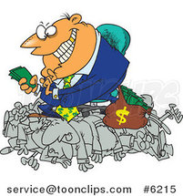 Cartoon Greedy Manager Counting His Money and Sitting on His Employees by Toonaday