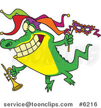 Cartoon Mardi Gras Crocodile Holding a Trumpet by Ron Leishman