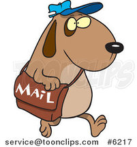 Cartoon Dog Postal Worker Carrying a Mail Bag by Ron Leishman