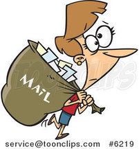 Cartoon Mail Lady Carrying a Big Bag by Toonaday