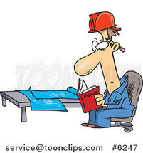 Cartoon Engineer Reading a Manual by Blue Prints by Toonaday
