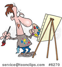 Cartoon Artist Painting His Masterpiece by Toonaday