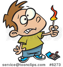Cartoon Boy Playing with Matches by Ron Leishman