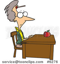 Cartoon Teacher Sitting at Her Desk with a Dart on Her Forehead by Toonaday