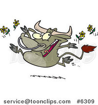 Cartoon Happy Bull Tossing Daisies by Ron Leishman