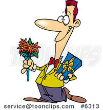 Cartoon Courting Guy Holding Flowers and a Gift by Toonaday