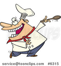 Cartoon Dancing Chef by Ron Leishman