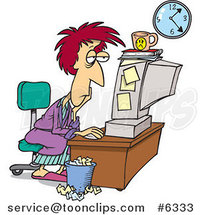 Cartoon Tired Lady Trying to Meet Her Deadline by Ron Leishman