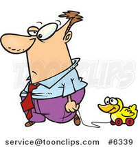 Cartoon Business Man Rolling His Duck Toy by Toonaday