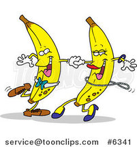 Cartoon Banana Couple Dancing by Ron Leishman