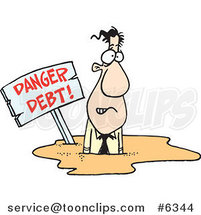 Cartoon Business Man Drowning in Debt by Toonaday