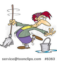 Cartoon Lady Dancing and Mopping by Toonaday