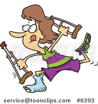 Cartoon Determined Lady Running with Crutches by Ron Leishman