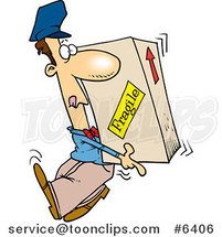 Cartoon Delivery Guy Carrying a Heavy Box by Ron Leishman