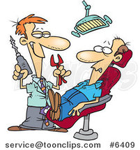 Cartoon Dentist Holding Pliers and a Drill over a Patient by Ron Leishman