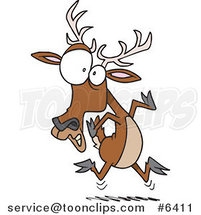 Cartoon Scared Deer by Ron Leishman