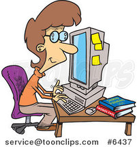 Cartoon Business Woman Working on a Computer by Toonaday