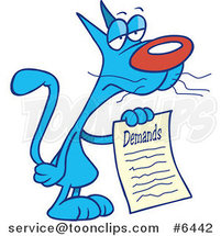 Cartoon Cat with a List of Demands by Ron Leishman