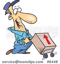 Cartoon Delivery Guy with a Package on a Dolly by Ron Leishman