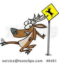 Cartoon Crossing Deer by Ron Leishman