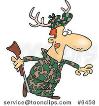 Cartoon Deer Hunter Wearing Antlers by Ron Leishman