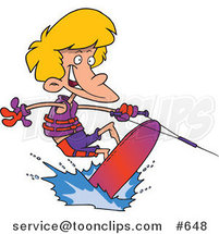 Cartoon Boy Wakeboarding by Ron Leishman
