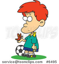 Cartoon Distracted Soccer Boy Admiring a Butterfly by Ron Leishman