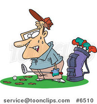 Cartoon Sweaty Golfer with Holes in the Grass by Ron Leishman