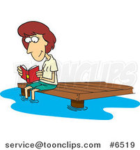Cartoon Lady Reading a Book on a Dock by Ron Leishman