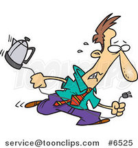 Cartoon Distressed Business Man Running with a Coffee Pot by Toonaday