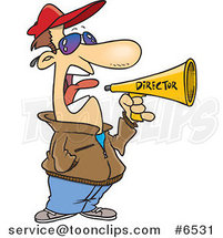 Cartoon Movie Director Using a Bullhorn by Ron Leishman