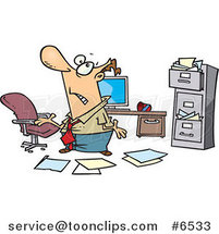 Cartoon Disorganized Business Man in a Messy Office by Toonaday