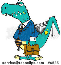 Cartoon Old Business Dinosaur by Toonaday