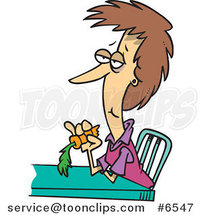 Cartoon Dieting Lady Eating a Carrot by Ron Leishman